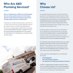 PDF - A&D Plumbing Services Why Choose Us Brochure