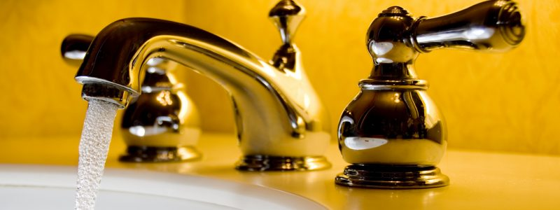 Bathroom taps with running water